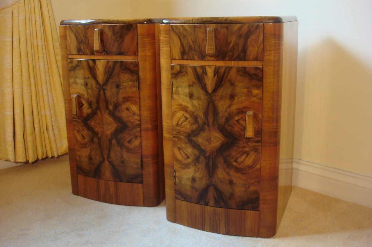 Art Deco Walnut Bedside Cabinets