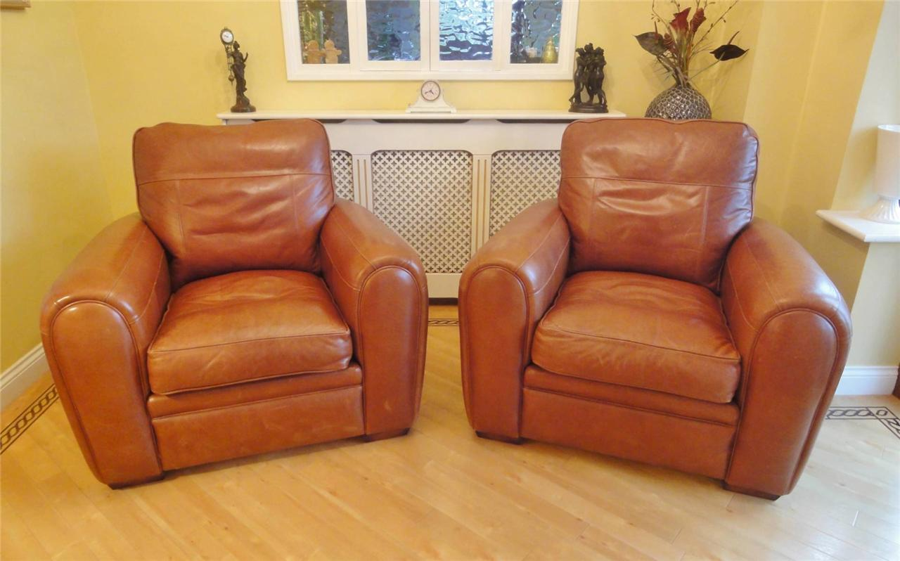 Art Deco style Tan Leather Club Arm chair