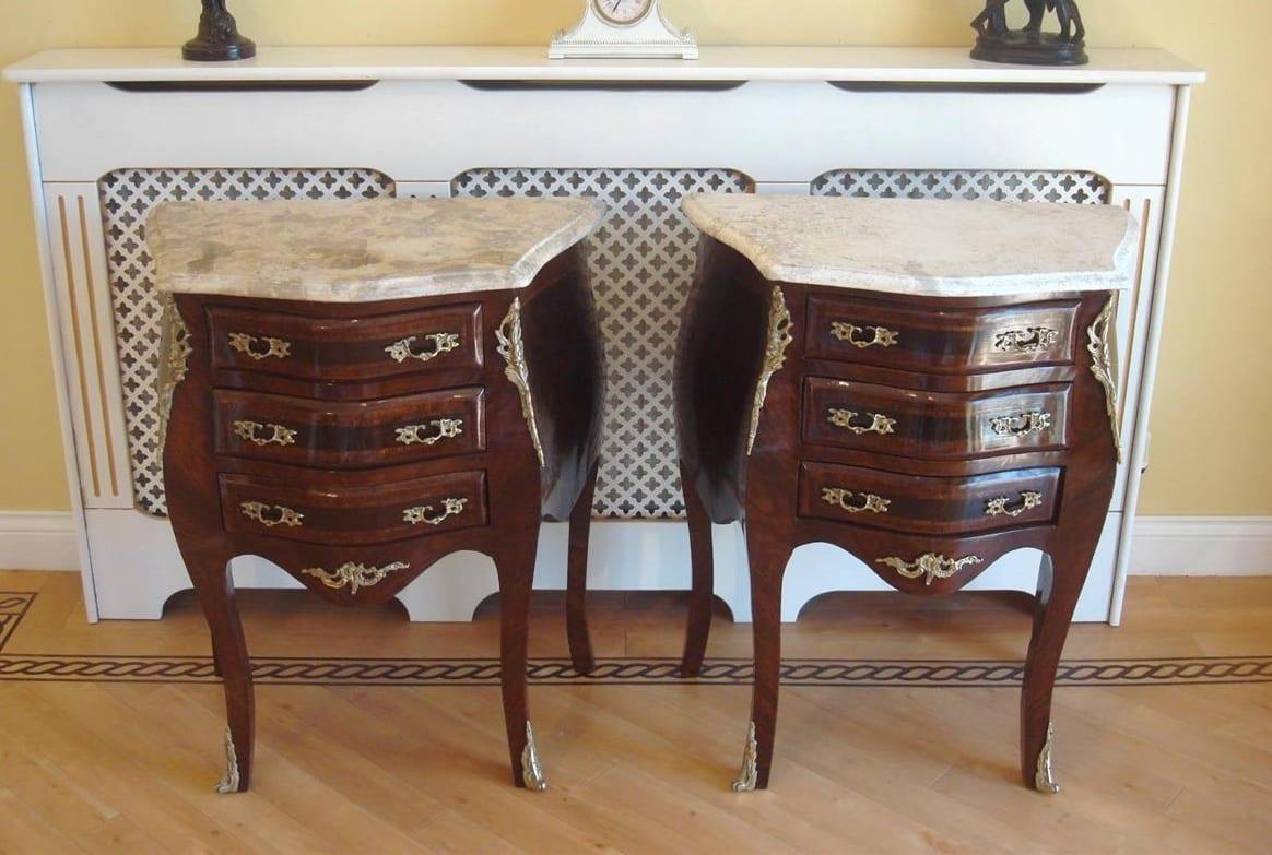 French Louis XV style Mahogany & Marble