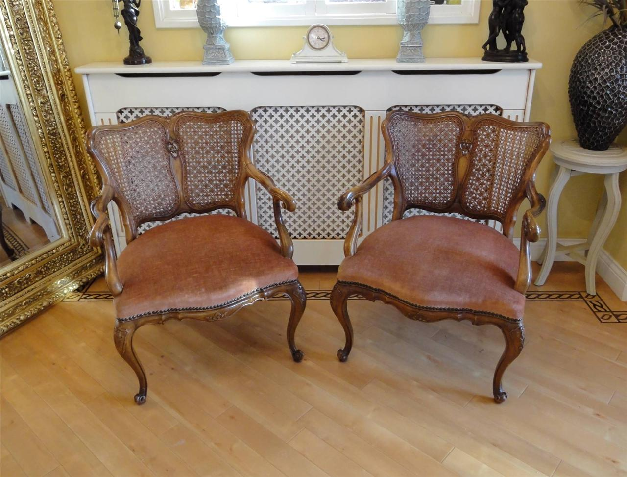 French Carved Walnut Bergere Arm Chairs