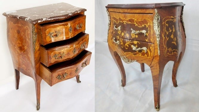 (Left) Original 19th Century French furniture can be hard to find in good condition. (Right) A modern French Reproduction.