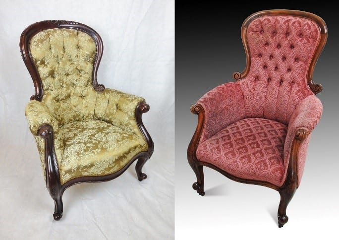 You would be hard pressed to tell which of these two chairs is Victorian and which is a Reproduction in the Victorian style.