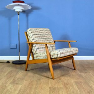 Mid Century Retro Vintage Danish Wool & Beech Open Frame Lounge Arm Chair 1960s