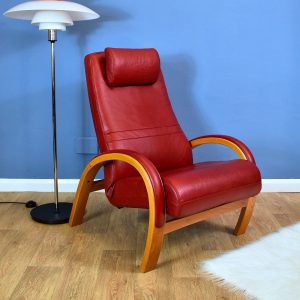 Mid Century Retro Vintage Danish Red Leather Reclining Club Lounge Armchair 80s