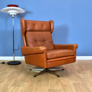 Mid Century Danish Skippers Møbler Tan Leather Swivel Lounge Arm Chair 1960s 70s