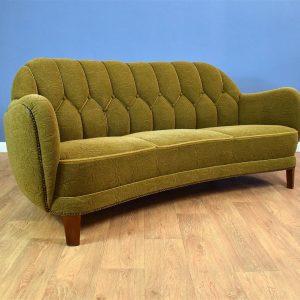 Mid Century Art Deco Vintage Danish Green 3 Seat 'Banana' Sofa Settee 1930s 40s