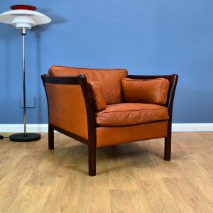 Mid Century Retro Vintage Danish Tan Brown Leather Wide Lounge Arm Chair 1970s