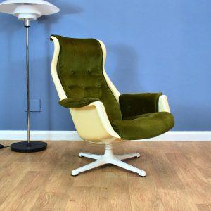 Mid Century Retro Swedish Alf Svensson for DUX 'Galaxy' Swivel Lounge Arm Chair