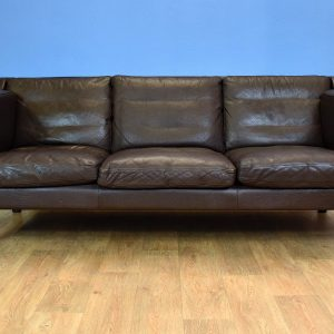 Mid Century Retro Danish Georg Thams Brown Leather 3 Seat Mogensen Style Sofa