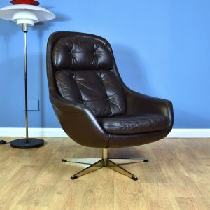 Mid Century Retro Danish H.W. Klein Bramin Brown Leather Swivel Lounge Arm Chair