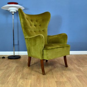 Mid Century Art Deco Retro Danish Green Velour High Back Lounge Arm Chair 1940s