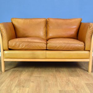 Mid Century Retro Danish Tan Leather & Beech 2 Seat Sofa Settee by Stouby