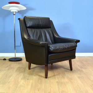 Mid Century Retro Vintage Danish Black Leather Lounge Arm Chair 1960s 70s