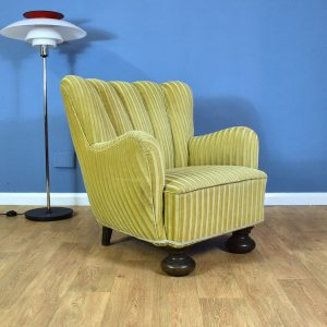 Mid Century Art Deco Danish Gold Velour Club Lounge Arm Chair 1940s (2 Available)