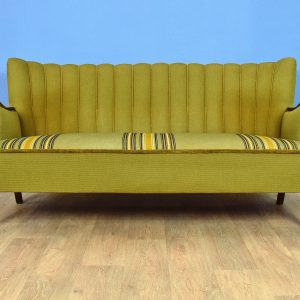Mid Century Retro Vintage Danish Green Striped Wool 2.5 Seat Sofa Settee 1950s
