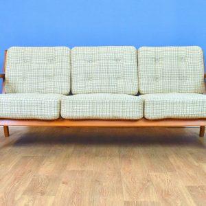 Mid Century Retro Danish Wool & Beech Open Framed 3 Seat Sofa Settee 1950s 60s