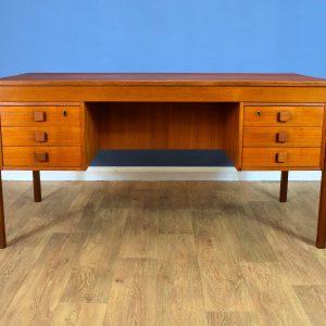 Mid Century Retro Danish Teak 6 Drawer Pedestal Office Desk by Domino Mobler 60s