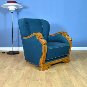 Mid Century Art Deco Danish Teal Blue Wool & Oak Club Lounge Chair (2 Available)