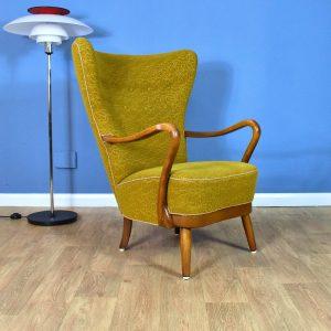 Mid Century Art Deco Danish Mustard Yellow Lounge Chair by Alfred Christensen