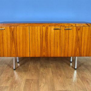 Mid Century Retro Swedish Rosewood & Brass Long Sideboard Cabinet TV Stand 1970s
