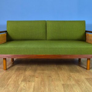 Mid Century Retro Danish Teak & Wool Green 2.5 Seat Sofa Day Bed Couch Chaise by Illum Wikkelso