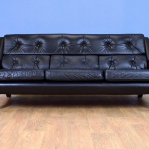 Mid Century Retro Vintage Swedish Black Leather 3 Seat Sofa Settee 1960s 70s