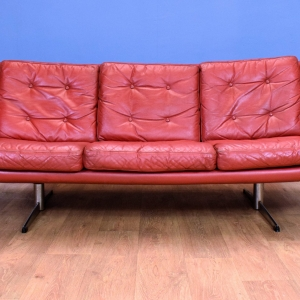 Mid Century Retro Danish Red Leather 3 Seat Sofa Settee with Sleigh Base 1960s