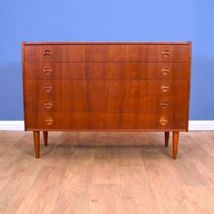 Mid Century Retro Vintage Danish Teak Wide Bedroom Chest of 5 Drawers 1960s 70s