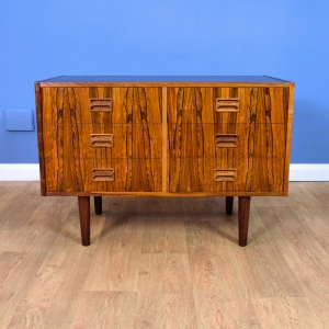 Mid Century Retro Danish Rosewood Low TV Stand Sideboard Chest of 6 Drawers 70s
