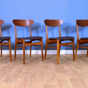 Mid Century Retro Danish Set of 4 Teak & Wool Dining Chairs by Farstrup 1960s