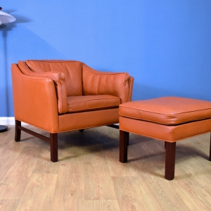 Mid Century Retro Danish Tan Leather Georg Thams for Grant Lounge Chair & Stool