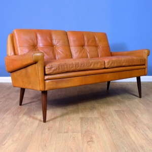 Mid Century Retro Danish Skippers Mobler Tan Leather 2 Seat Sofa Settee 1960s