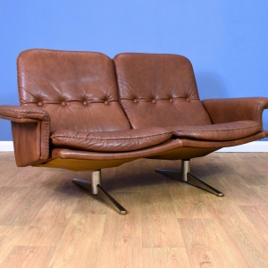 Mid Century Retro Danish Brown Leather Werner Langenfeld For ESA 2 Seat Sofa 70s