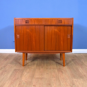Mid Century Retro Vintage Danish Teak Two Door Sideboard Cabinet 1960s 70s