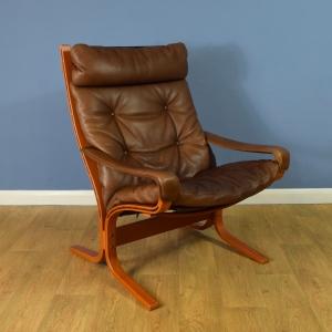 Mid Century Danish Dark Tan Leather Siesta Chair by Ingmar Relling for Westnofa