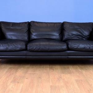 Mid Century Retro Danish Black Leather 3 Seat Sofa Settee by Mogens Hansen 1970s