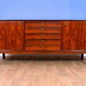 Mid Century Retro Danish Erik Brouer Rosewood Sideboard Cabinet with 5 Drawers