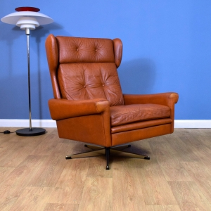 Mid Century Retro Danish Skippers Mobler Tan Leather Swivel Lounge Chair (1 of 2)