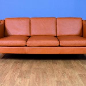 Mid Century Modern Retro Danish Tan Leather Mogensen Style 3 Seat Sofa Settee