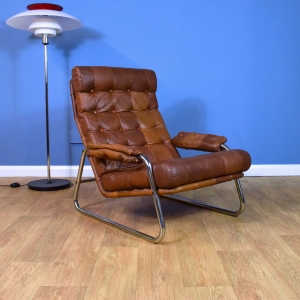 Mid Century Retro Swedish Tan Brown Leather & Chrome Low Lounge Arm Chair 1970s