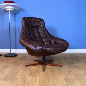Mid Century Danish Brown Leather H.W. Klein for Bramin Swivel Lounge Chair (1 of 2)