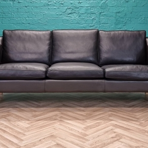 Mid Century Retro Danish Black Leather Mogensen Style 3 Seat Sofa by Stouby