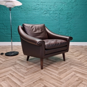Mid Century Retro Danish Brown Leather Lounge Chair by Aage Christiansen 1 of 2