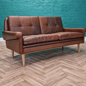 Mid Century Retro Danish Skippers Mobler Brown Leather 2 Seat Sofa Settee 1960s