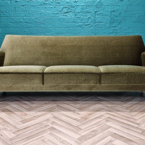 velvet mid century sofa