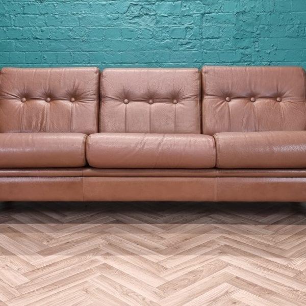 danish leather 3 seat sofa