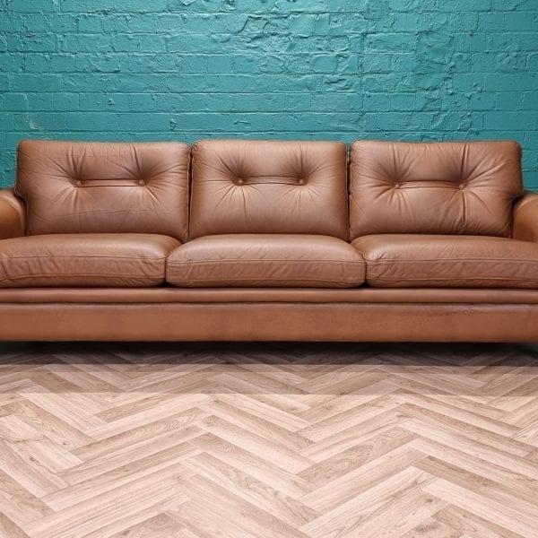 danish brown leather sofa