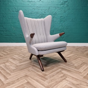 Mid Century Retro Danish Grey Wool Svend Skipper Model 91 Papa Bear Lounge Chair