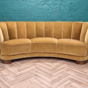 Mid Century Art Deco Danish Yellow Velour 3 Seat 'Banana' Sofa Settee 1930s 40s