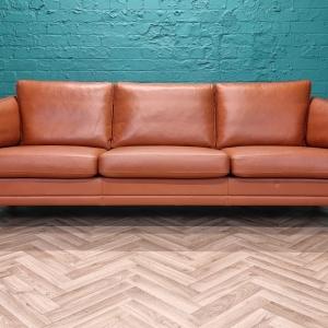 Mid Century Retro Danish Mogens Hansen Tan Leather & Teak 3 Seat Sofa 1970s